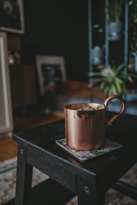 copper mug on stool chair