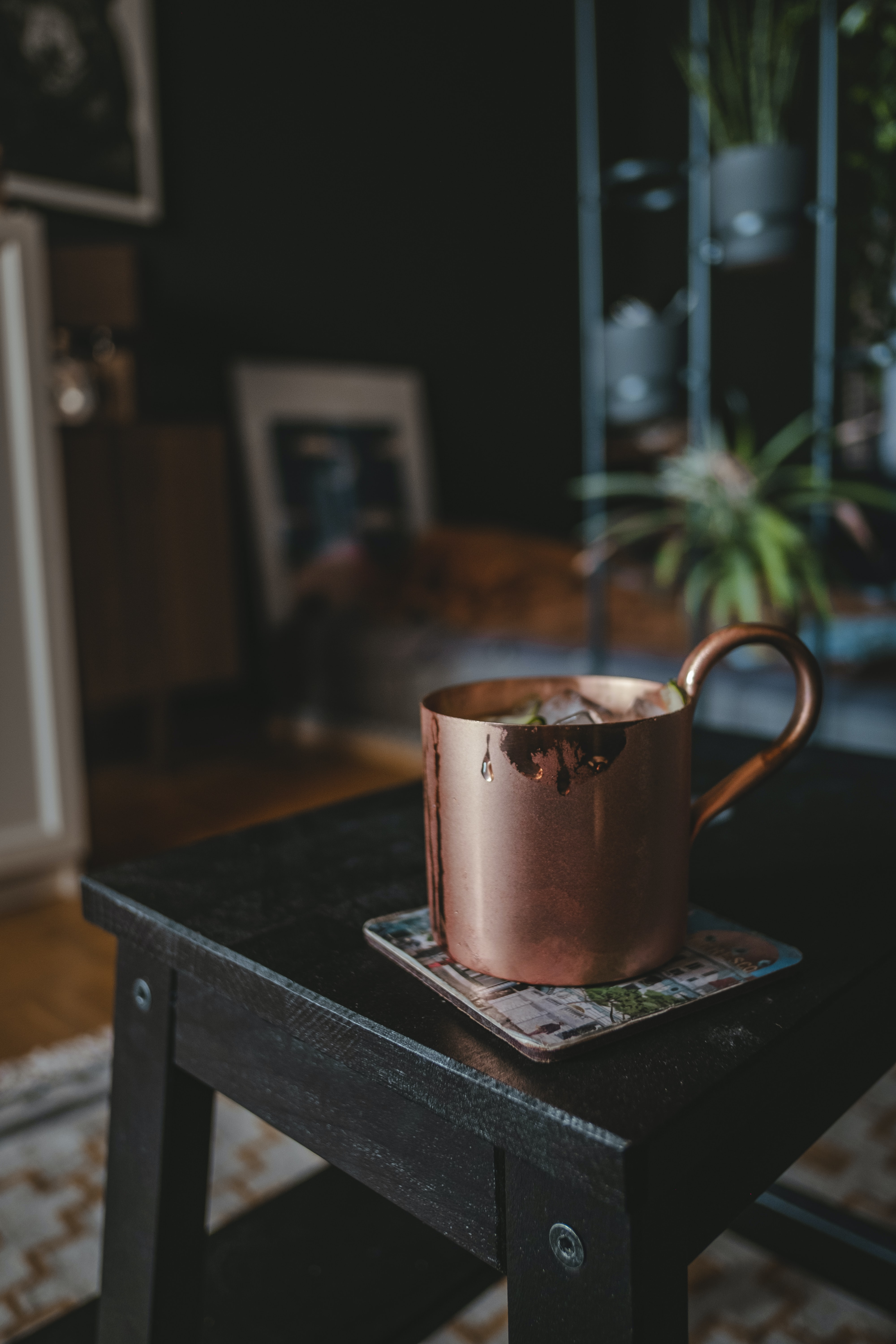 copper mug on stool chair