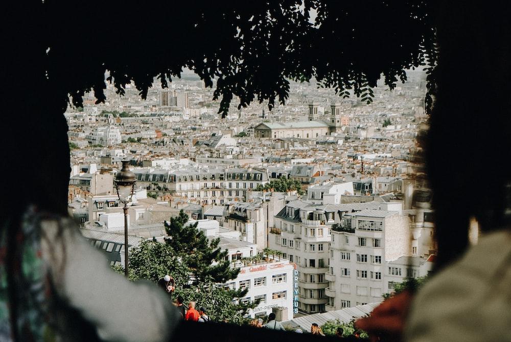 landscape photography of white city sky