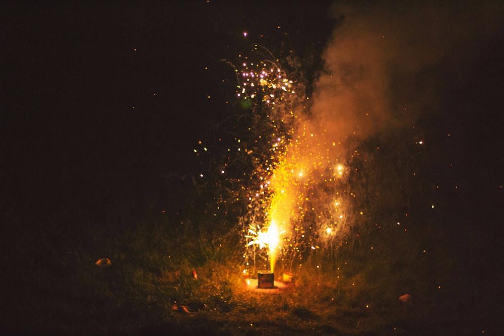 photo of lit firecrackers