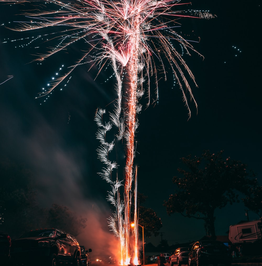 fireworks display on time lapse photography