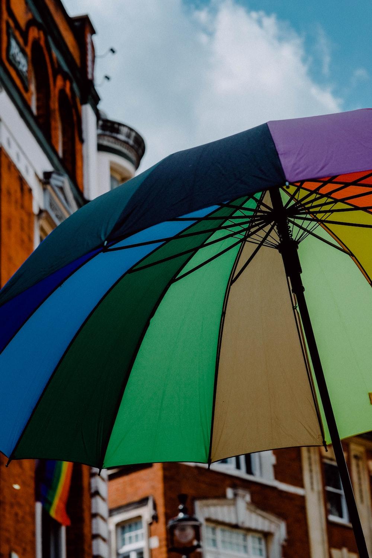 purple and multicolored umbrella