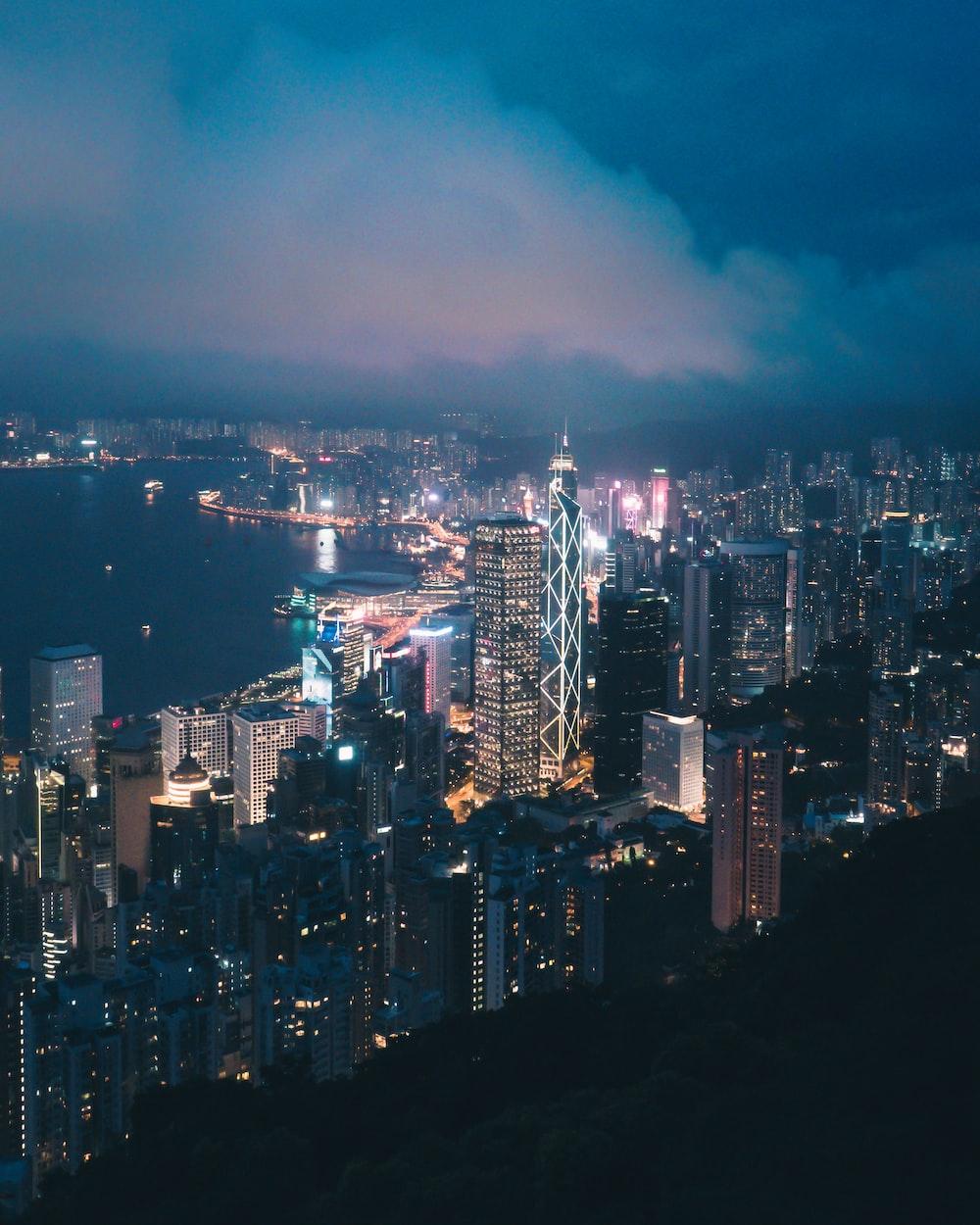 aerial shot of city skyline at night