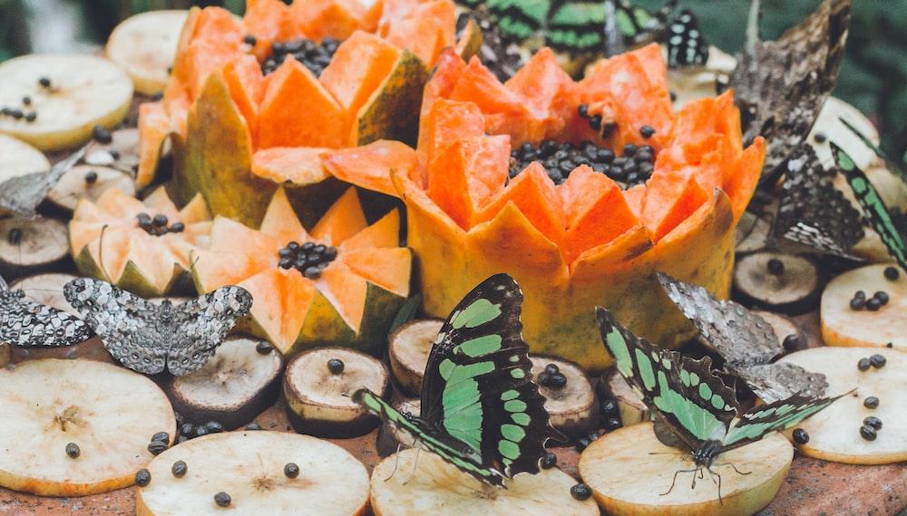 two butterflies near papaya fruit