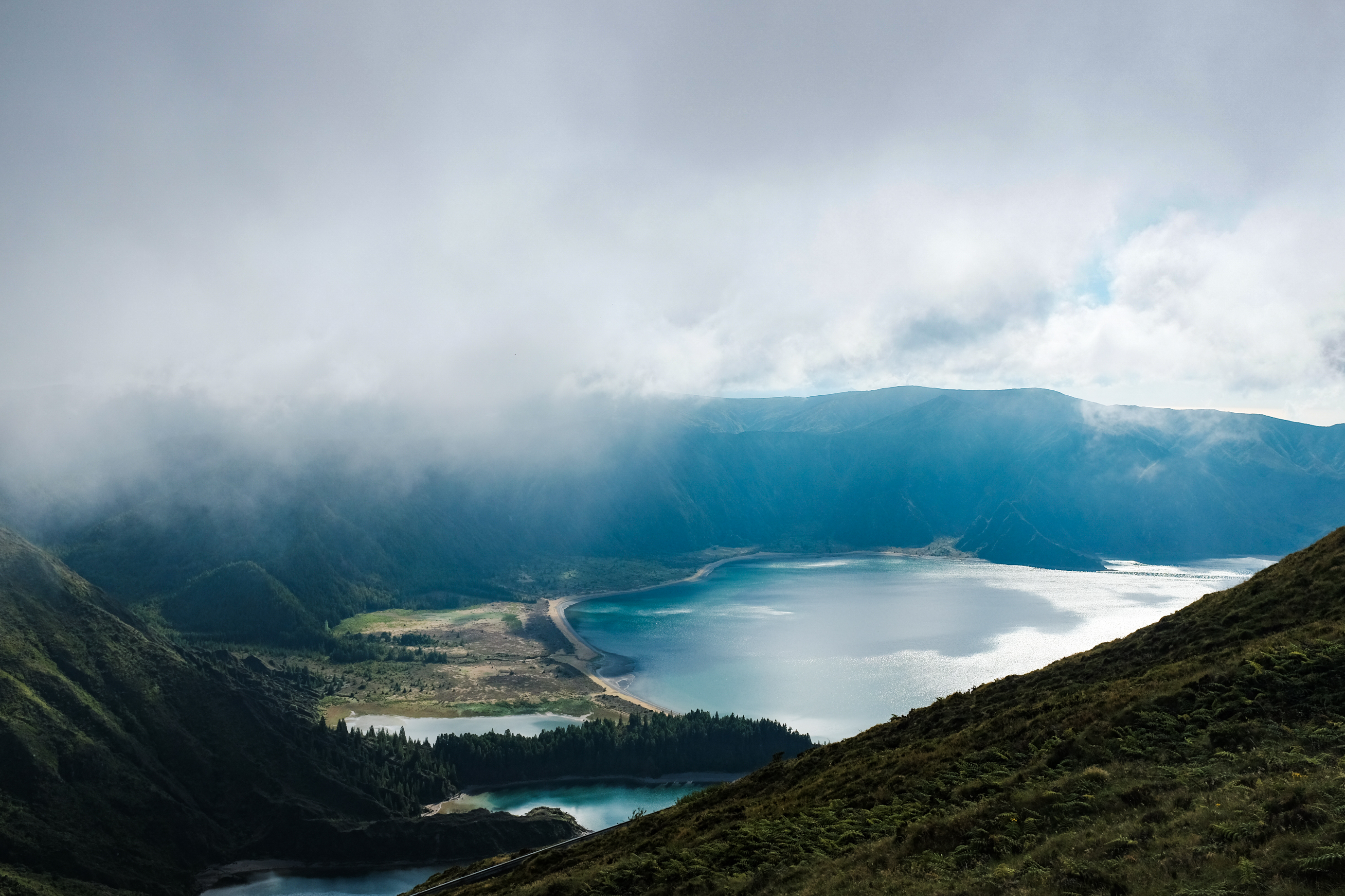 This is one of the biggest lakes in the island of São Miguel in Azores. The view is just breathtaking, it makes you feel like you're in Jurassic Park. Every time I go visit the Island I always make a stop there, I love the feeling it gives.