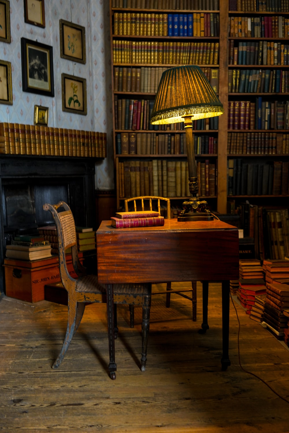 brown table lamp on brown table