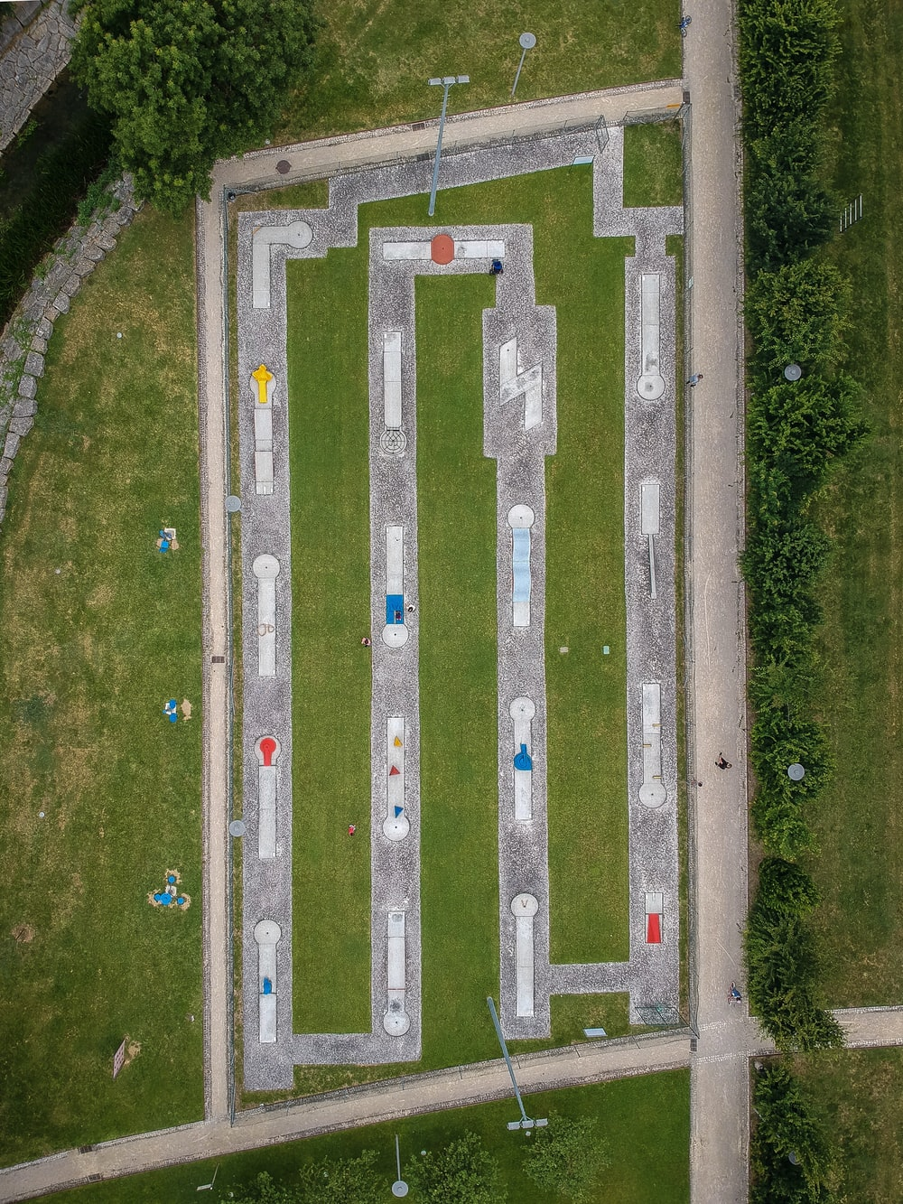aerial view of park with course