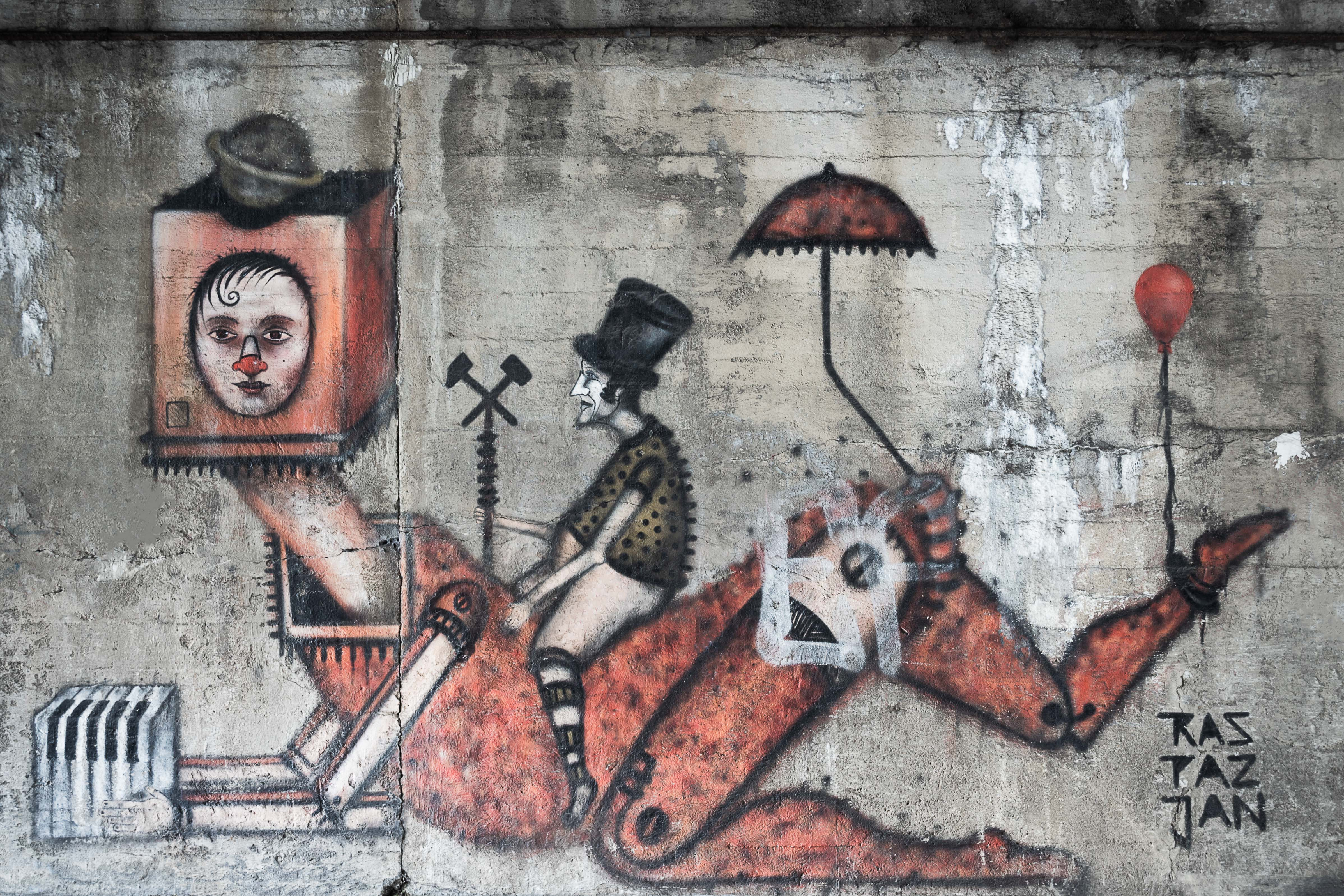 man riding robot wall mural