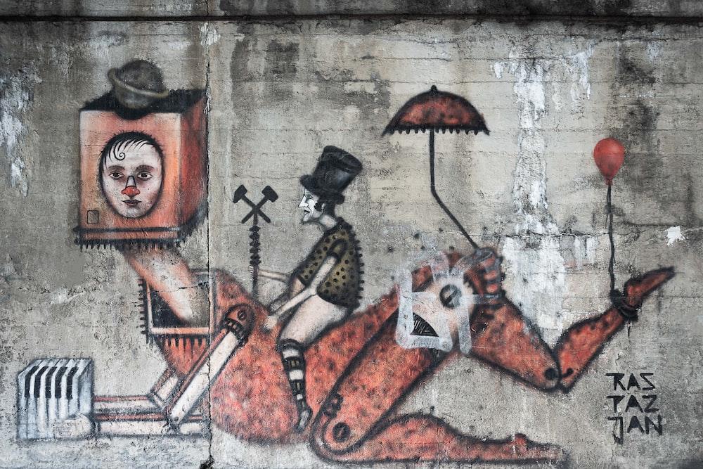 man riding robot wall mural