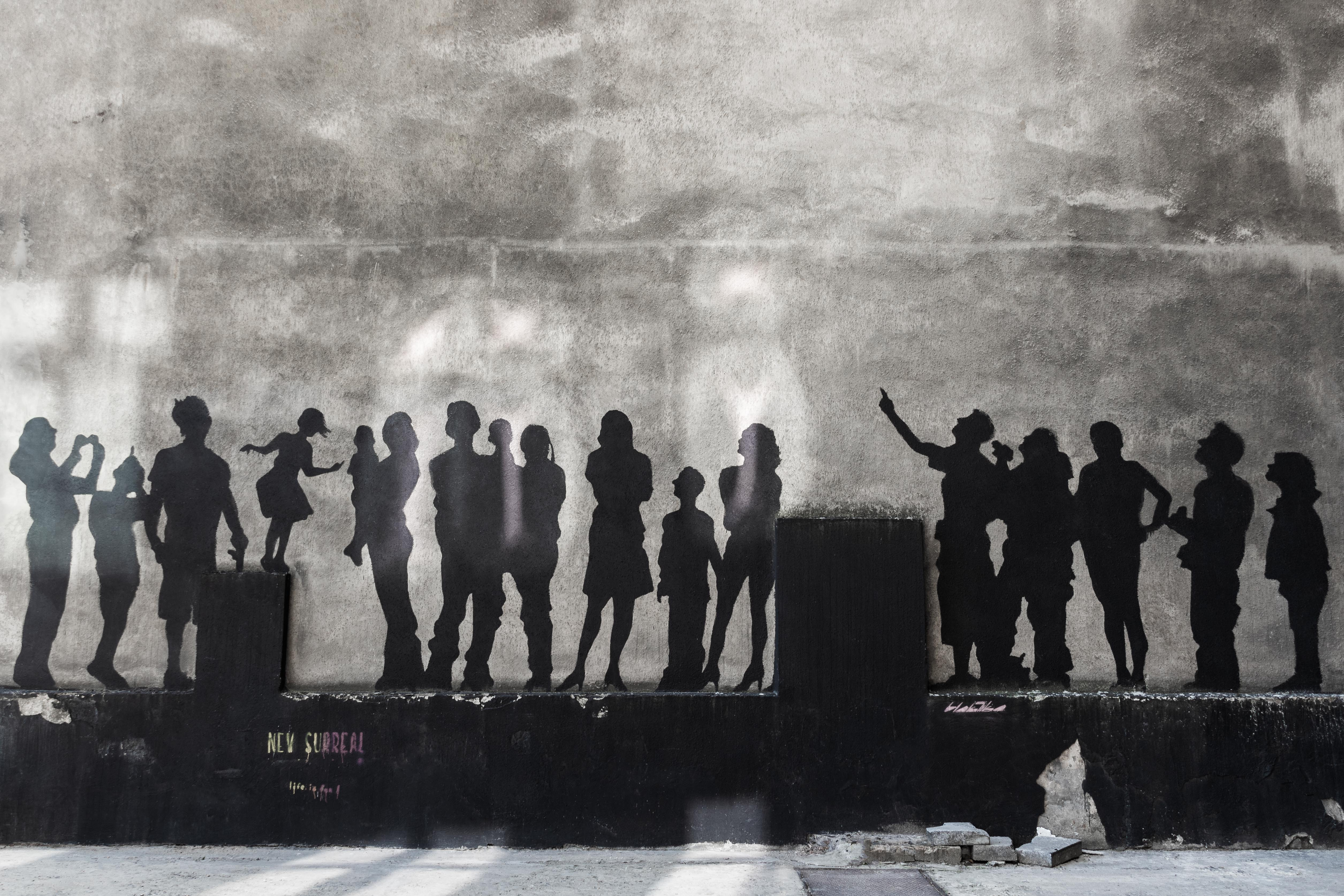 silhouette of people wall art photo