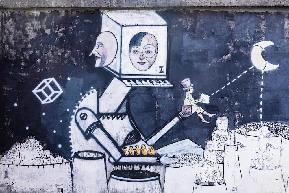 robot illustration wall decor