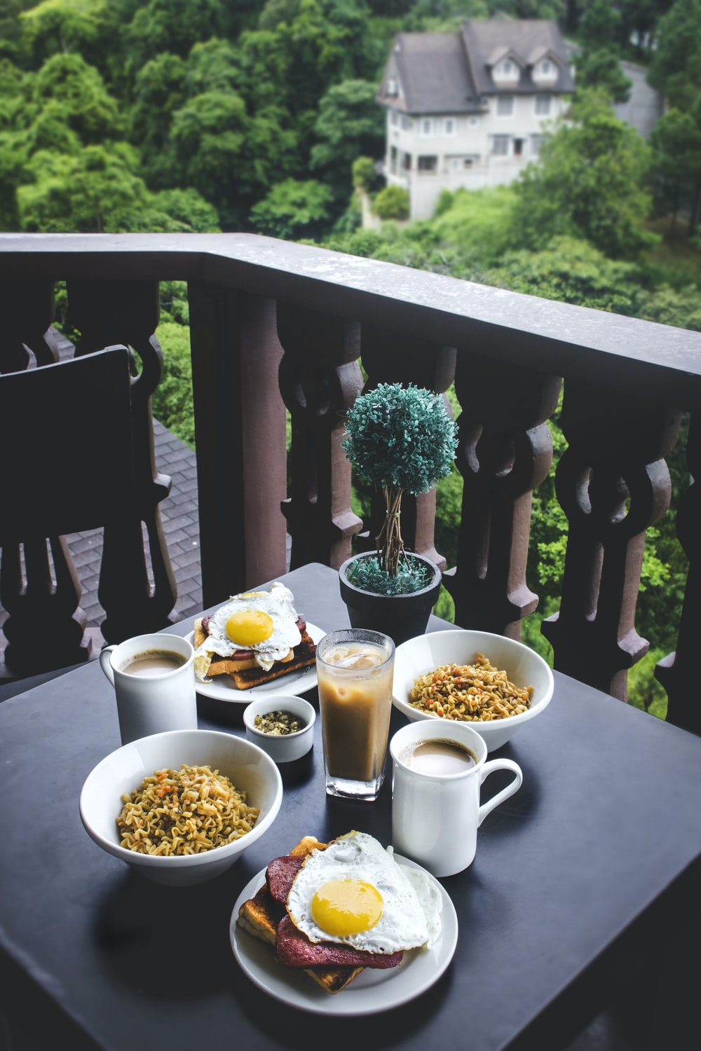 breakfast placed on table at terrace SPAM meat