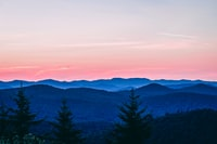 trees covered mountain taken under pink sky during sunset