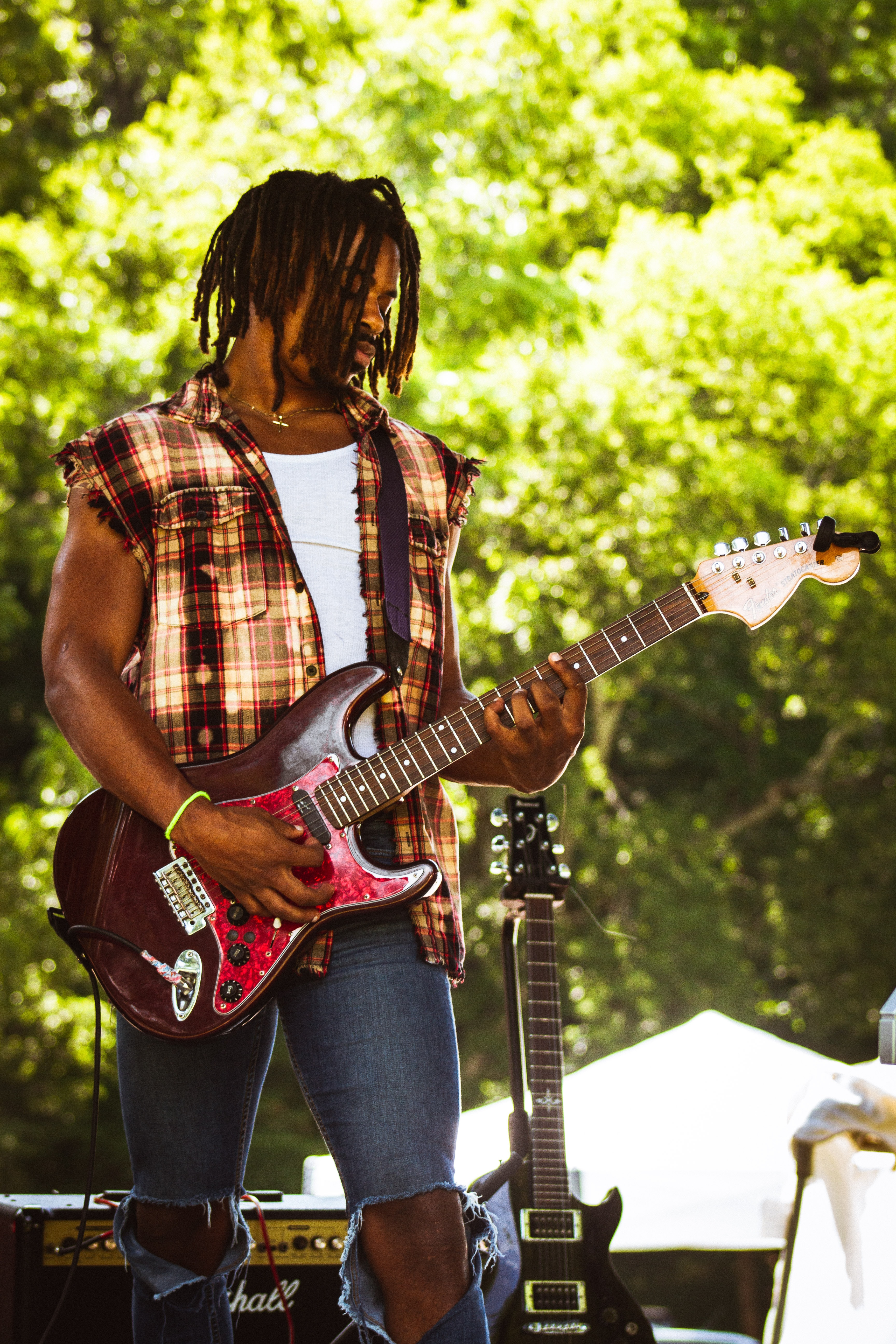 male guitarist playing on stage
