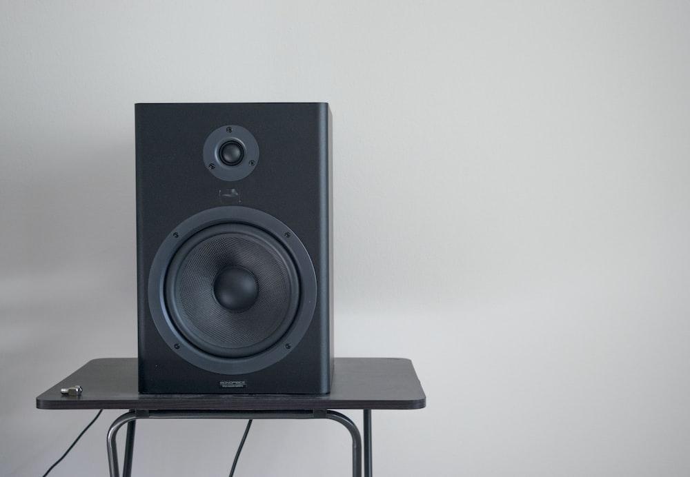 black speaker on table