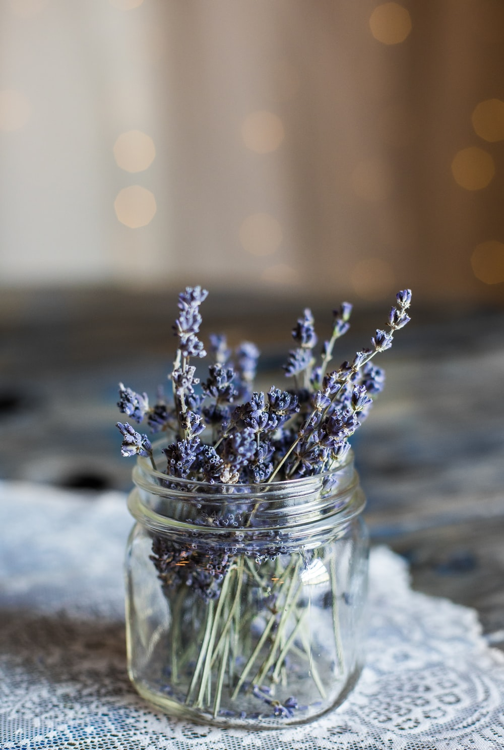 selective focus photography of blue petaled flowers in clear glass jar