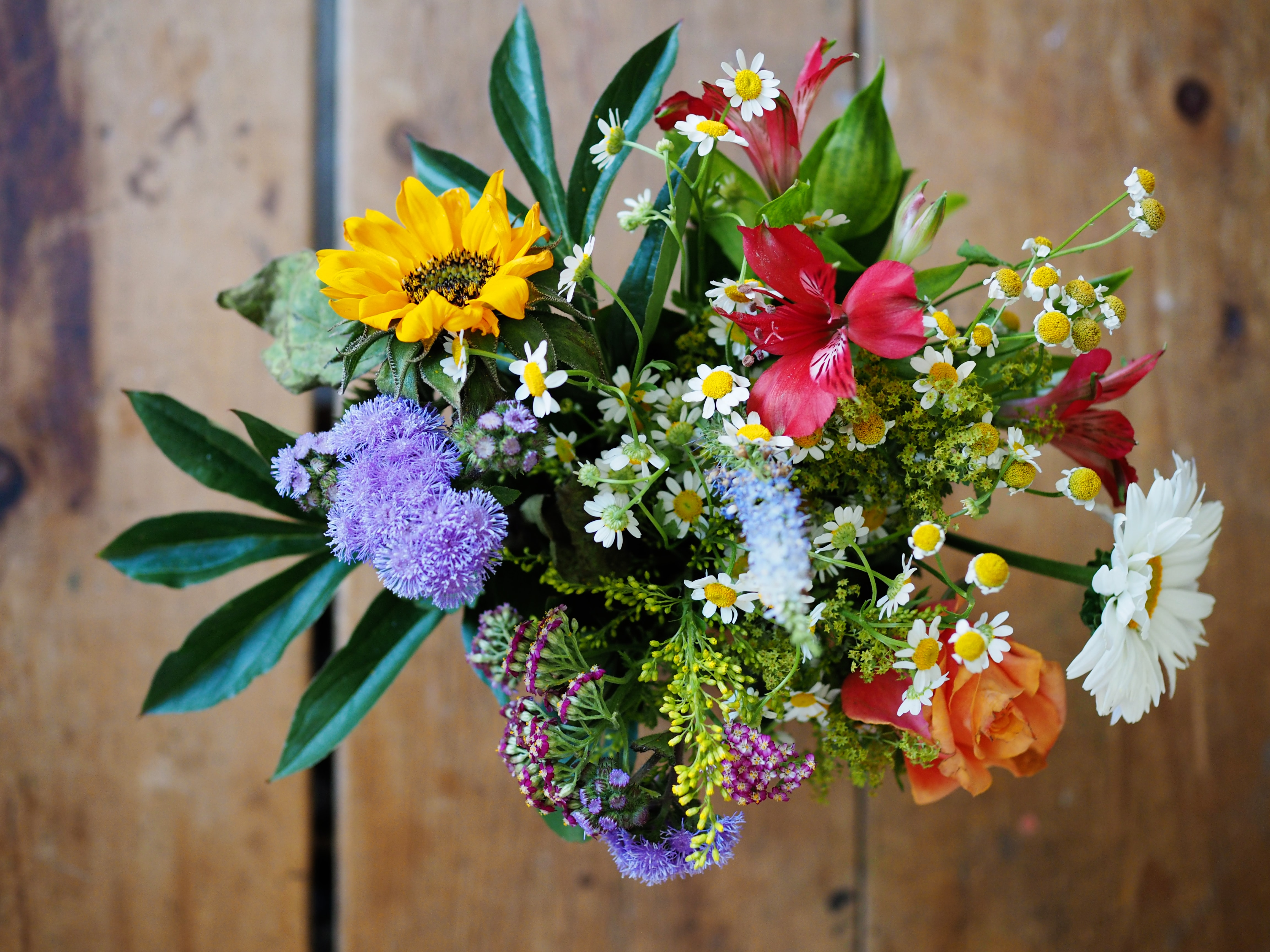 assorted-color flowers on brown wood