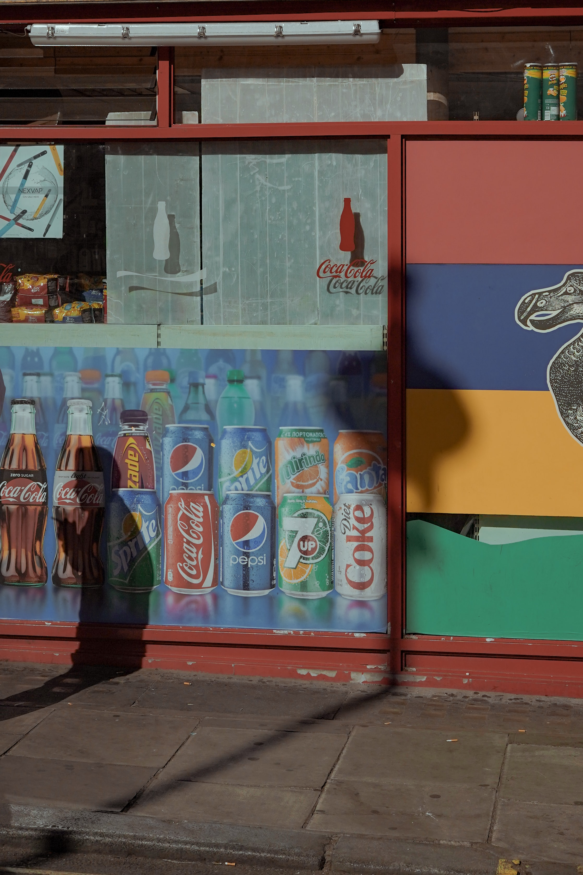 multicolored food stall