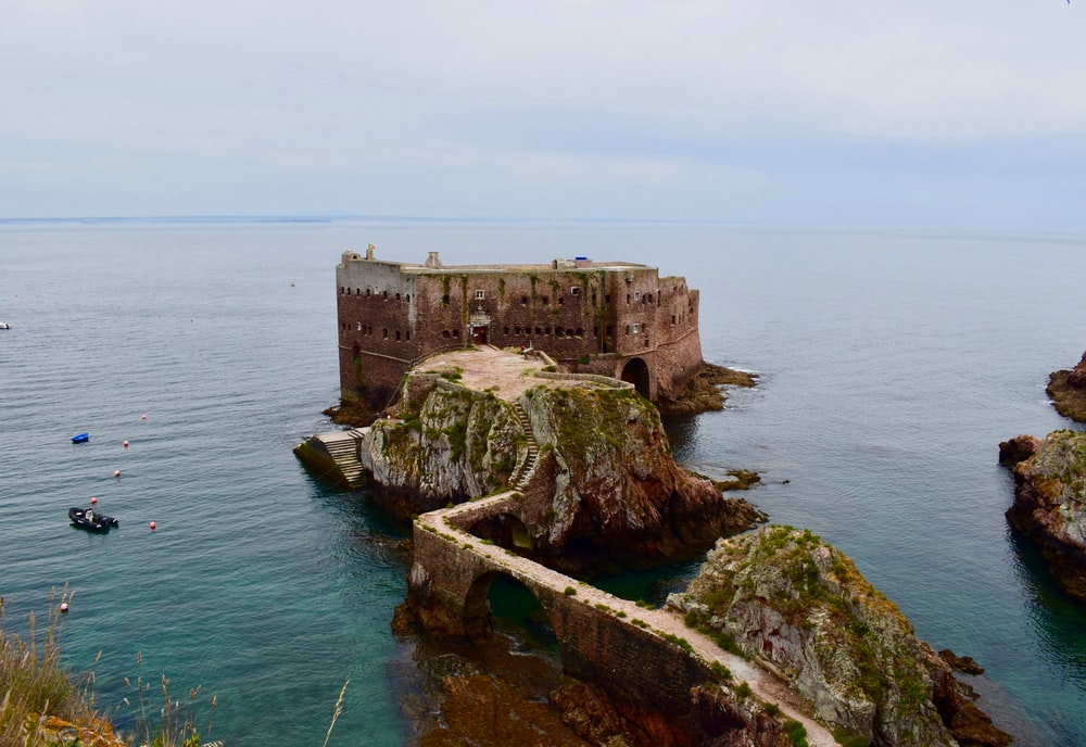 pathway leading to castle in sea