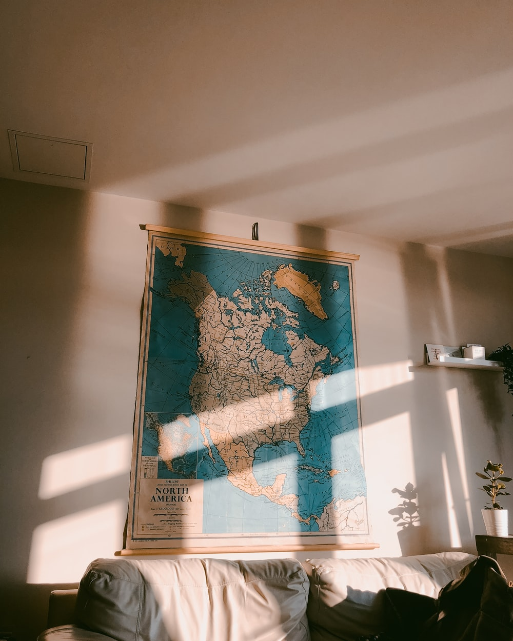 North America map on white wall