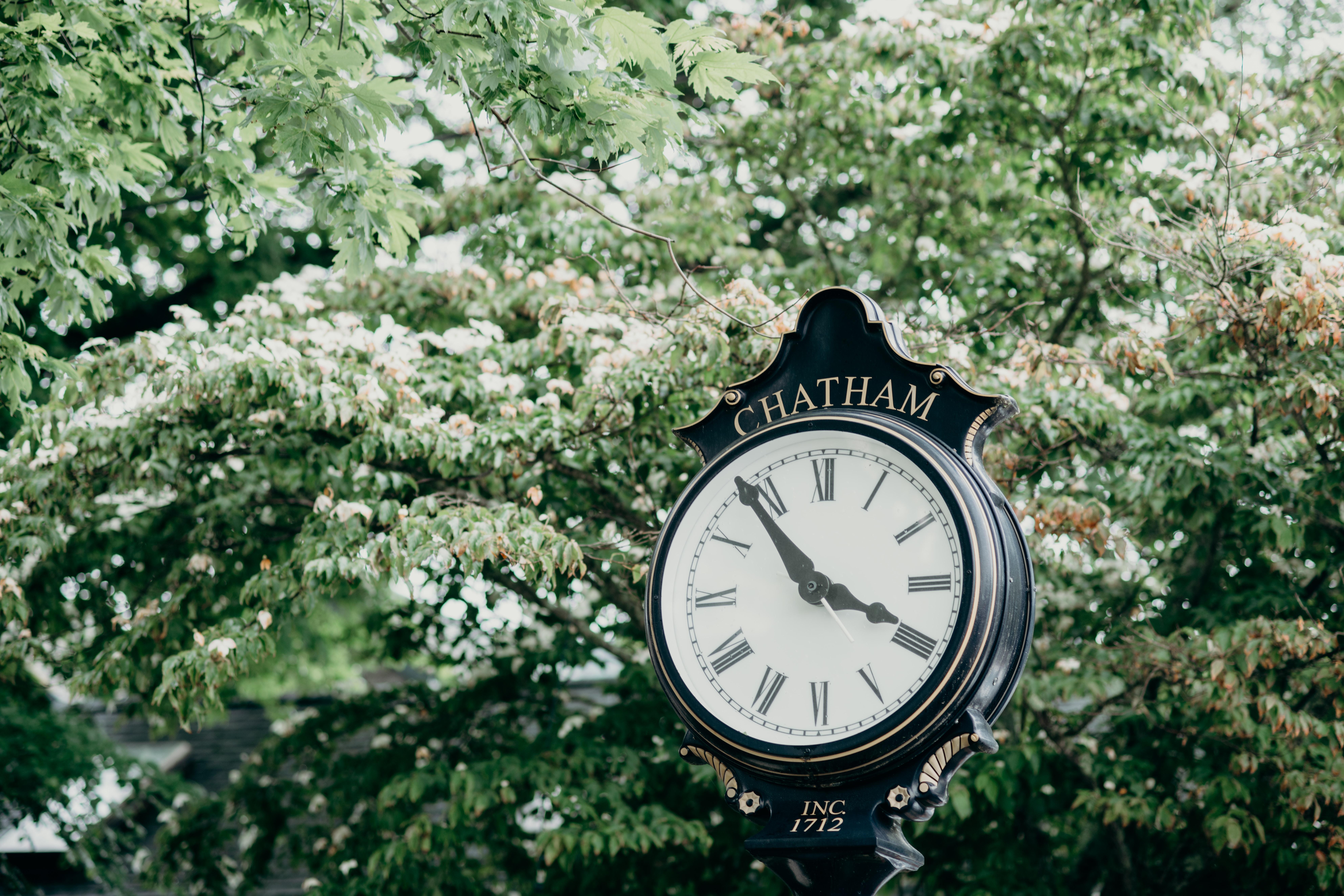 road Charham street clock beside trees