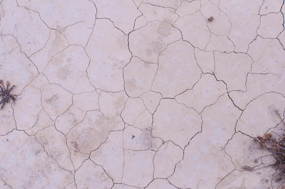 cracked white concrete floor