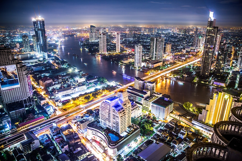 aerial photography of cityscape during night time