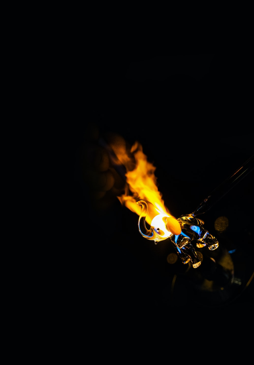 yellow fire with black background