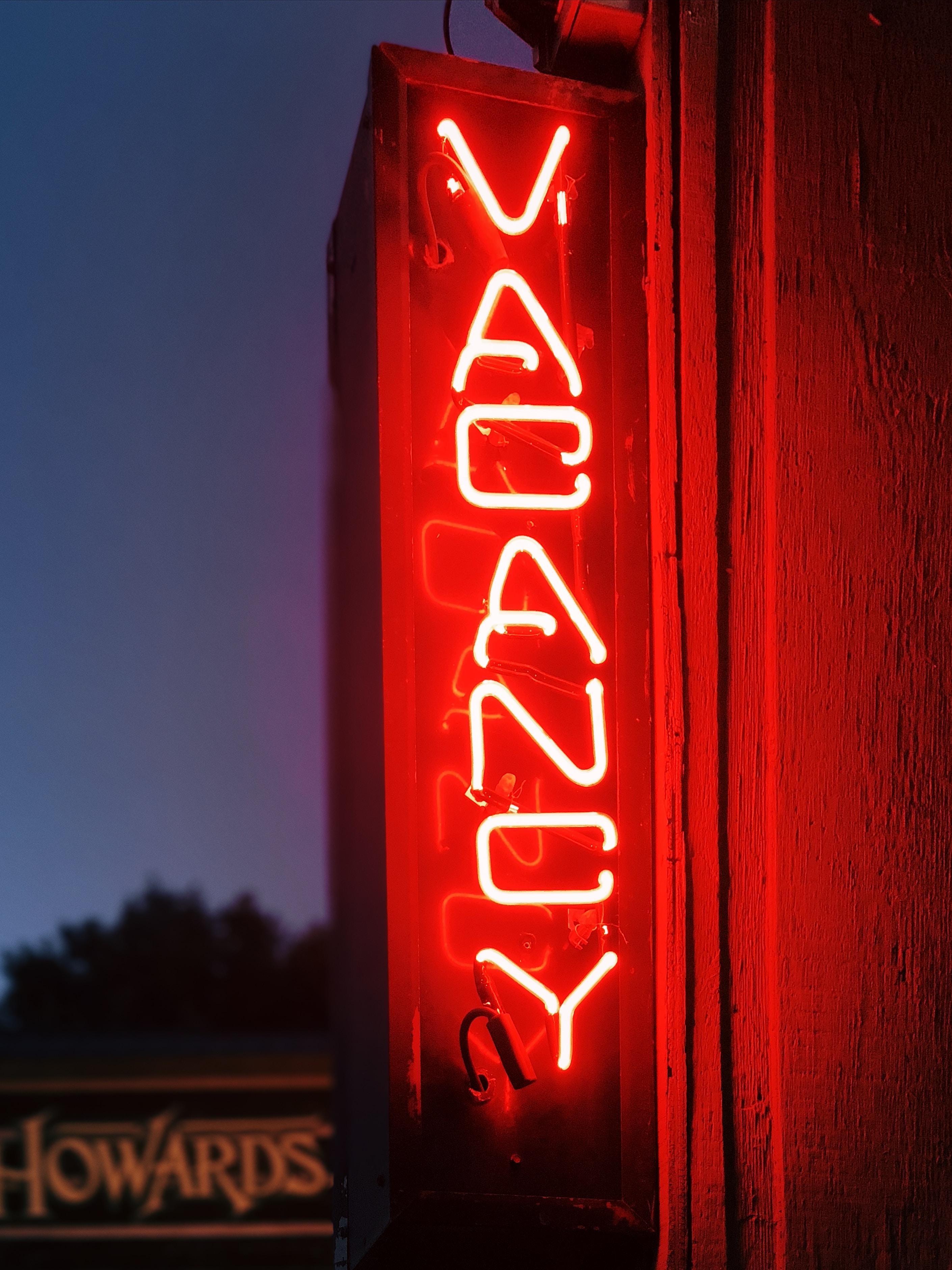 Vacancy neon signage