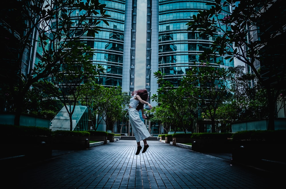 jumped woman on pavement