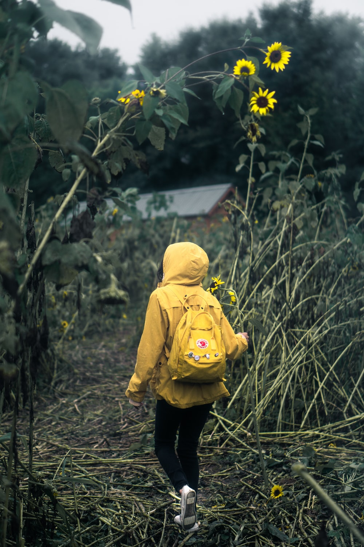 person walking on garden
