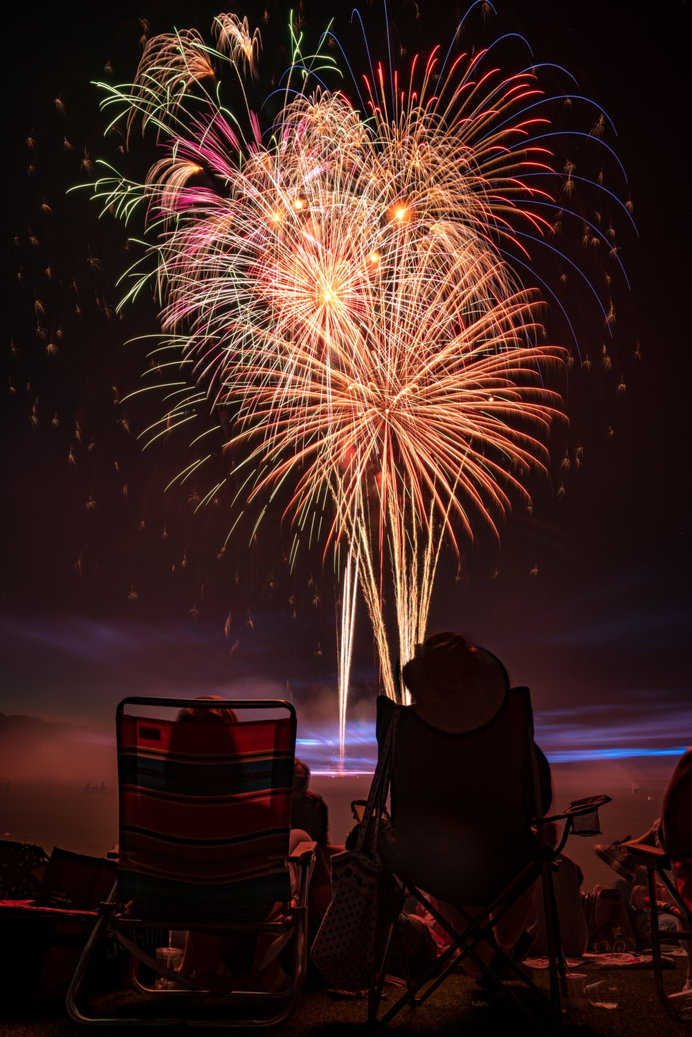 two people watching fireworks display