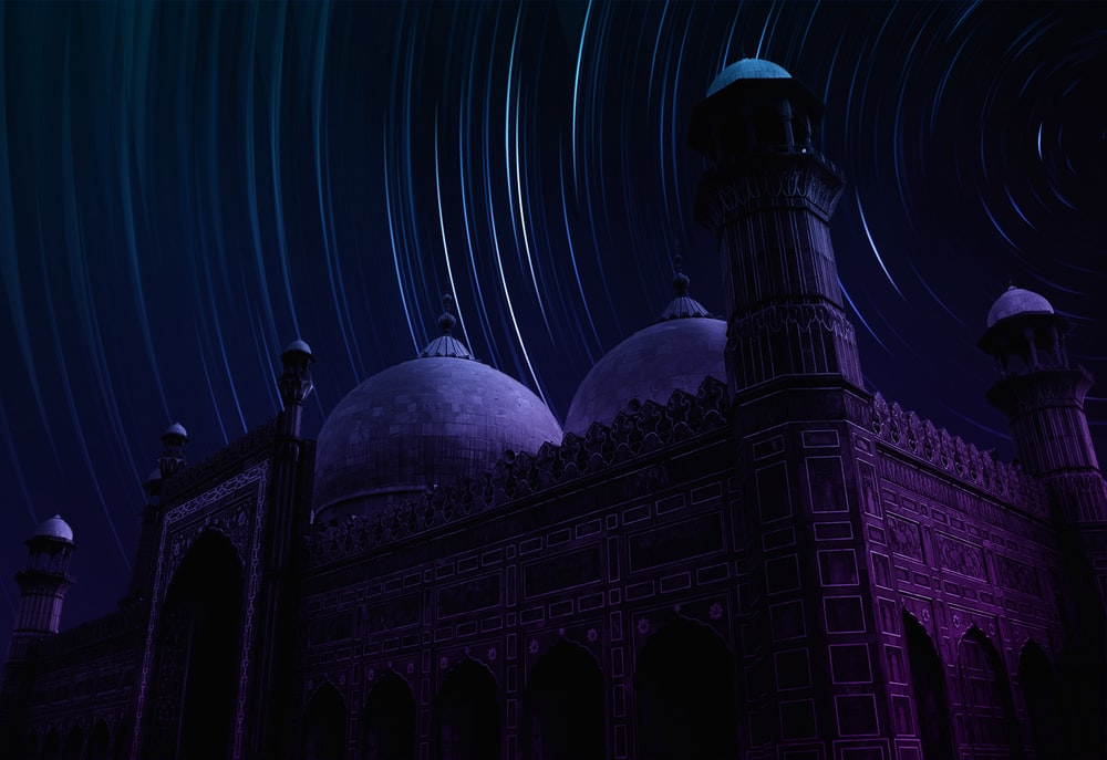 Long Exposure Photograph Of Star Over Mosque