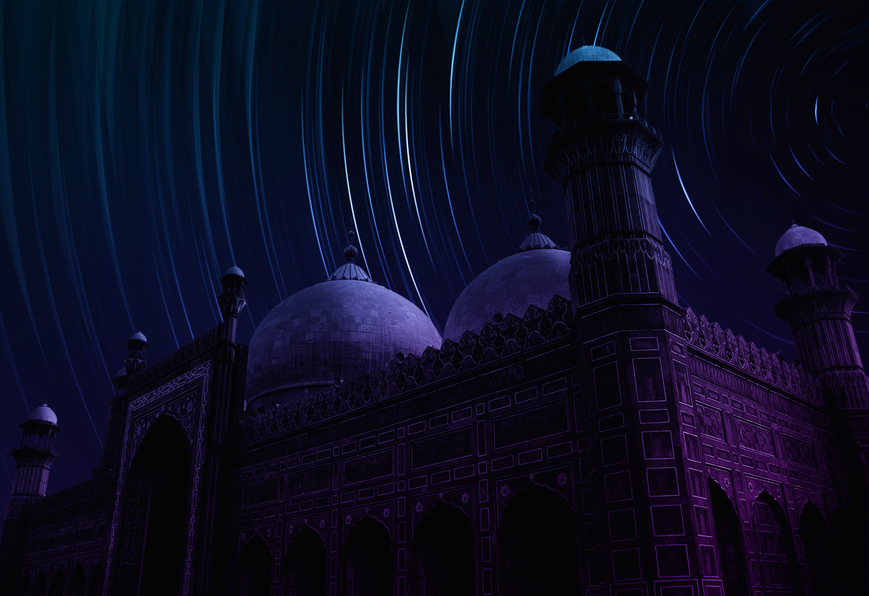 long-exposure photograph of star over mosque