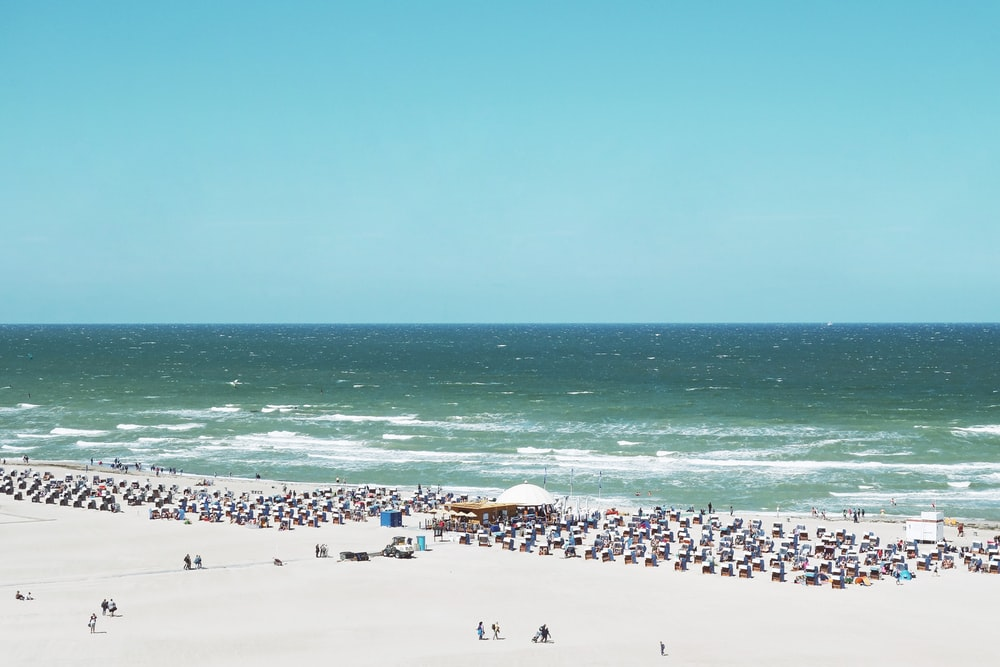aerial view of people on sand near sea