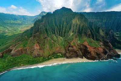 aerial photography of mountain range hawaii zoom background