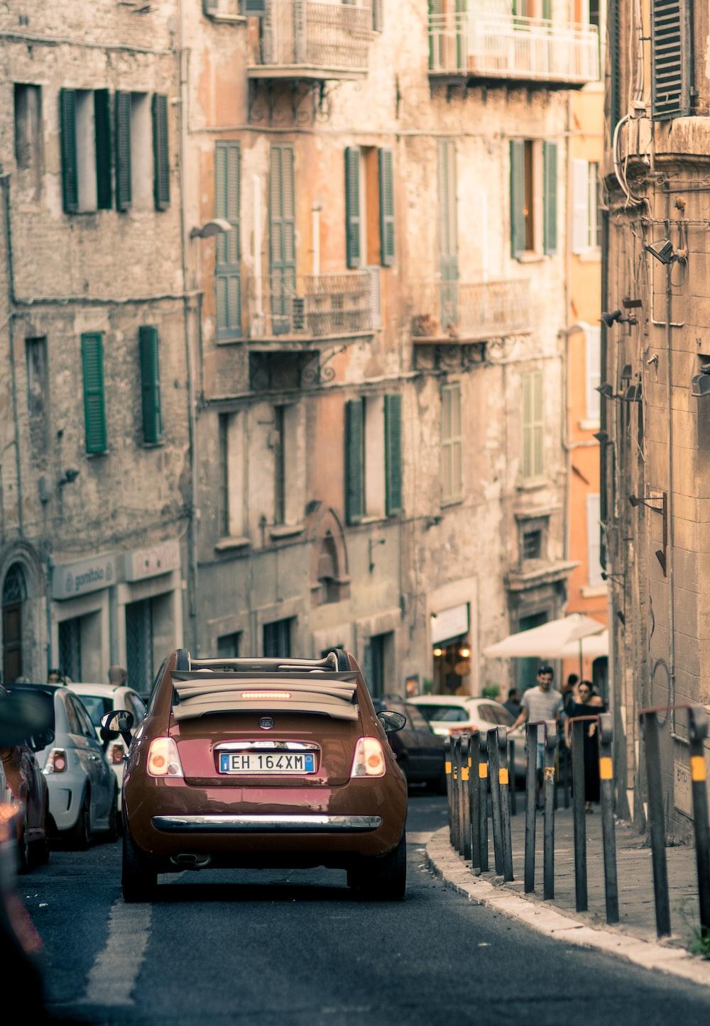 brown car on road