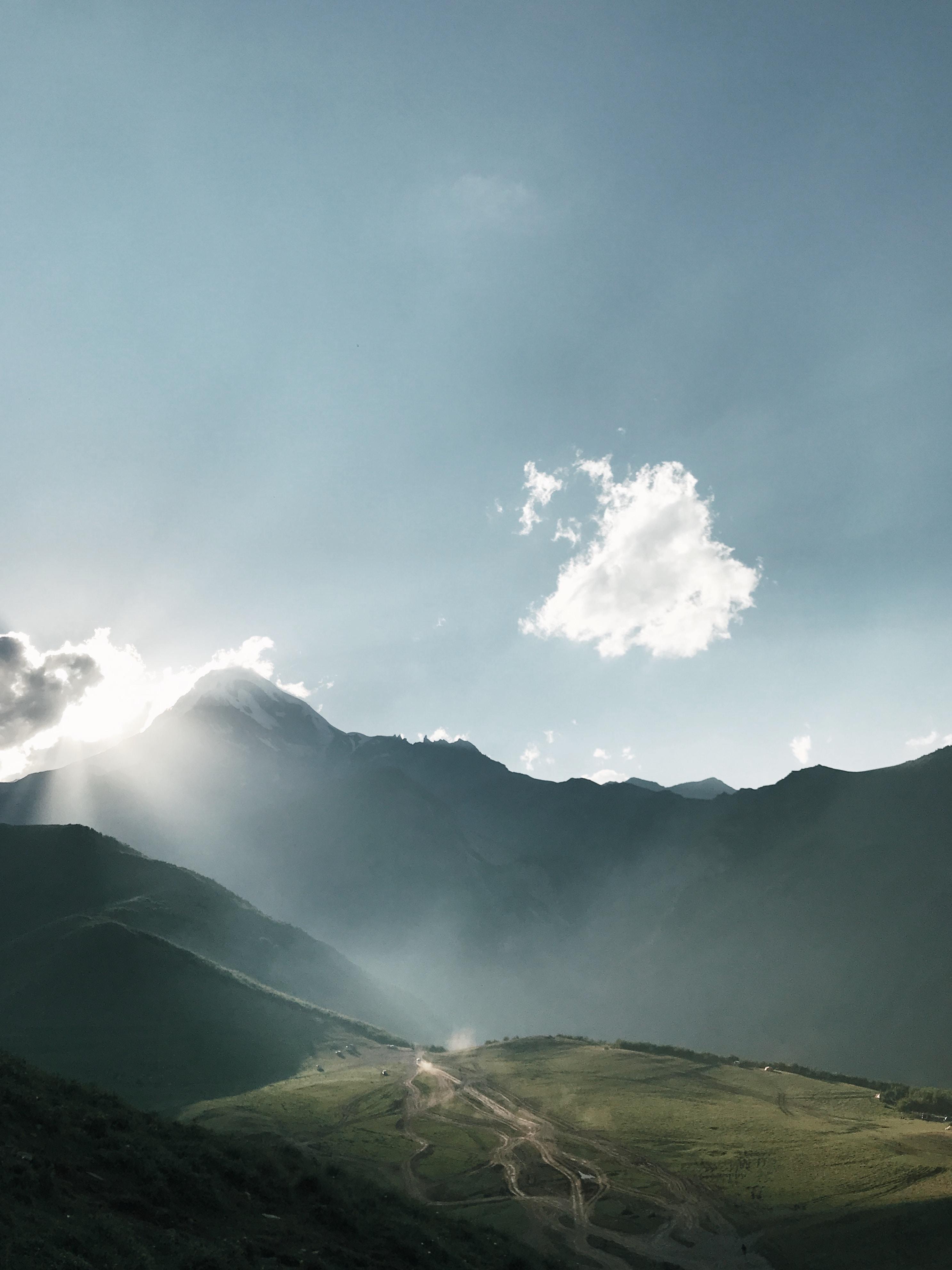 mountain under clear blue sky