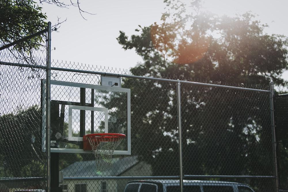black and white basketball hoop