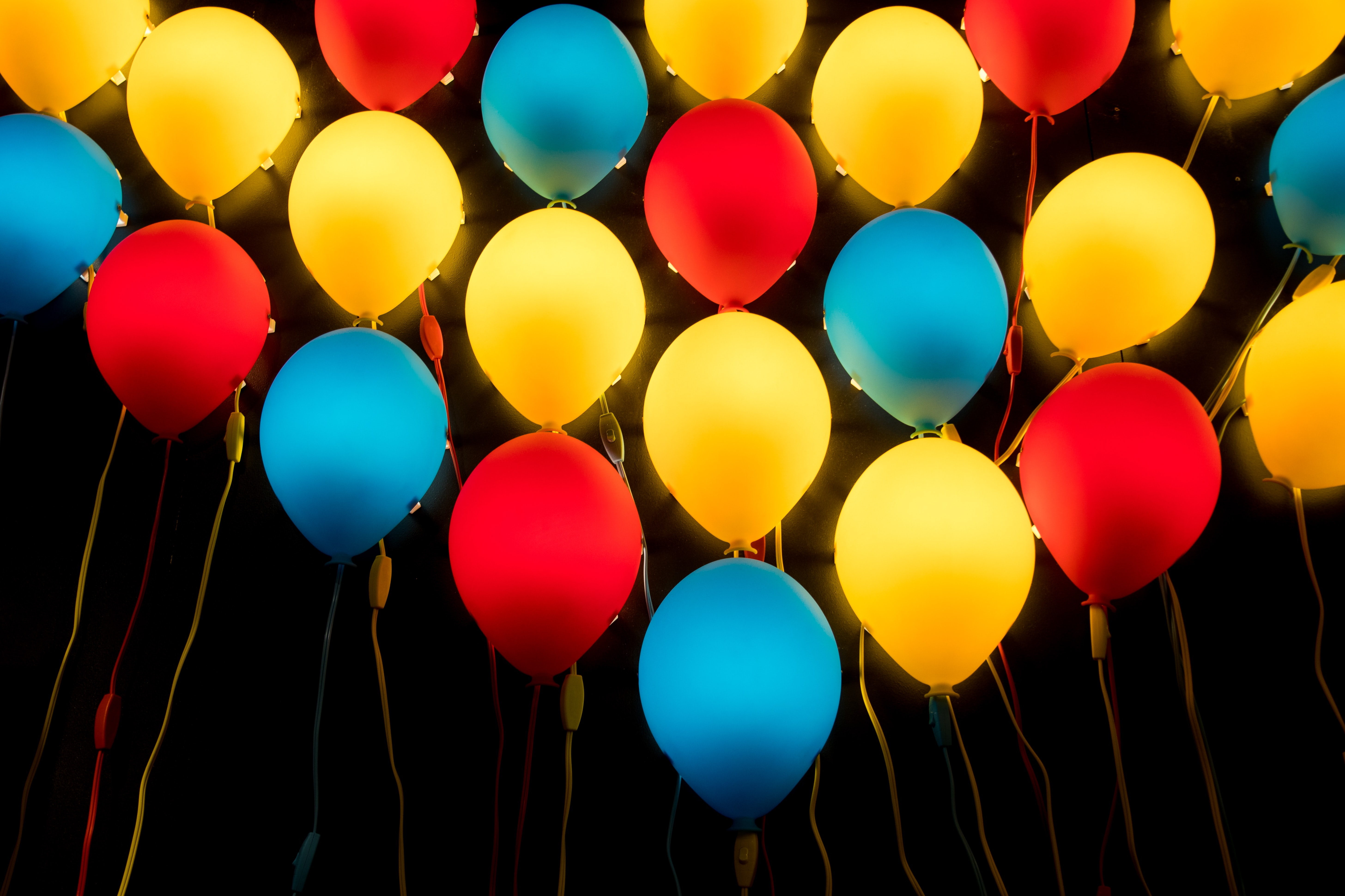 assorted-color LED balloons