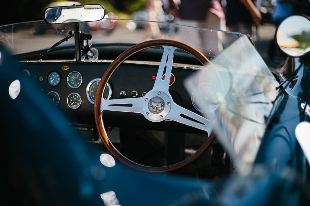 gray and brown steering wheel