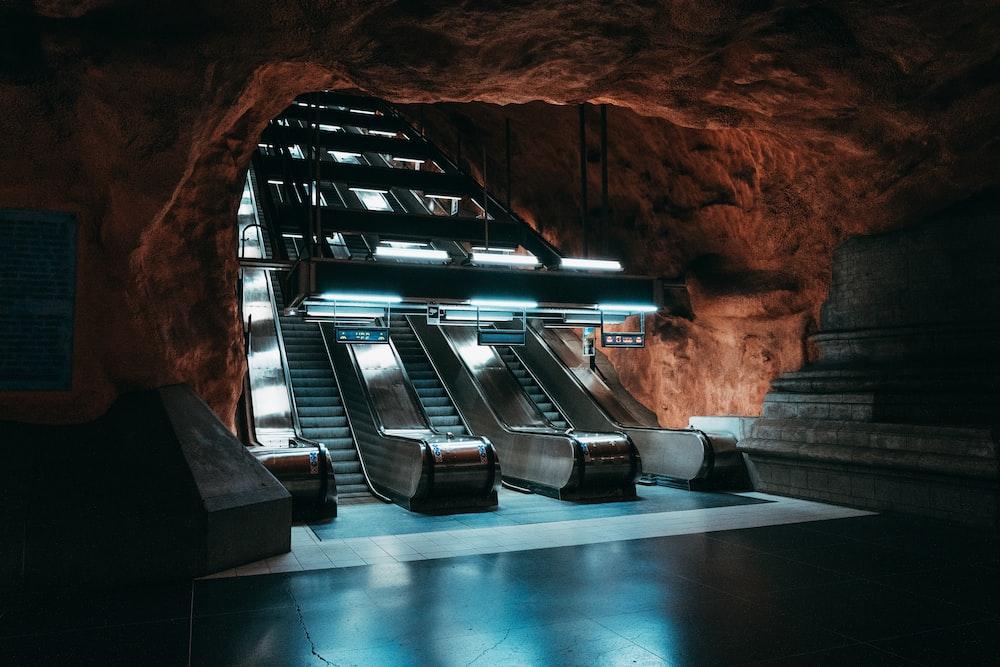 grey metal escalator