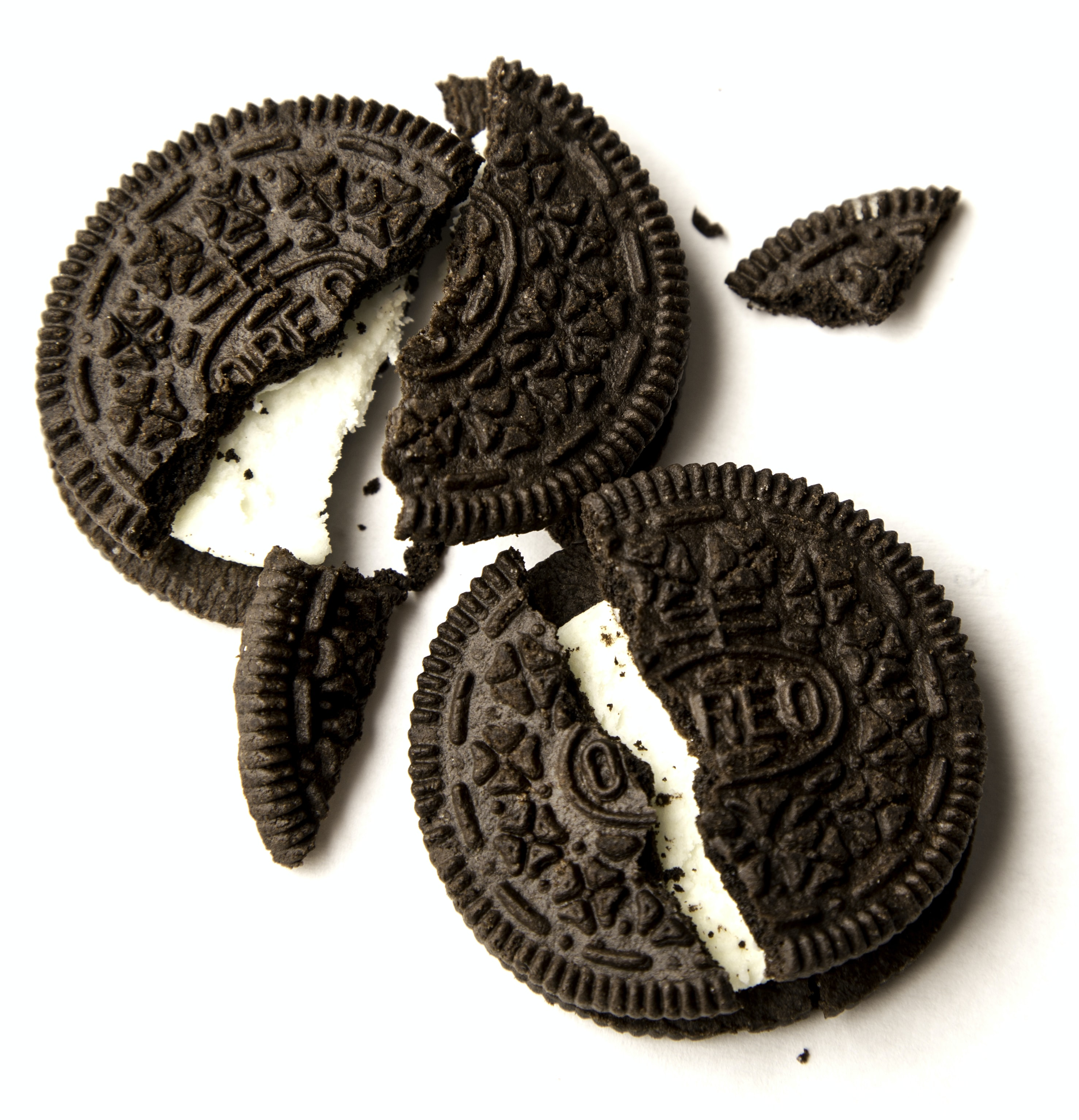 cracked Oreo cookies