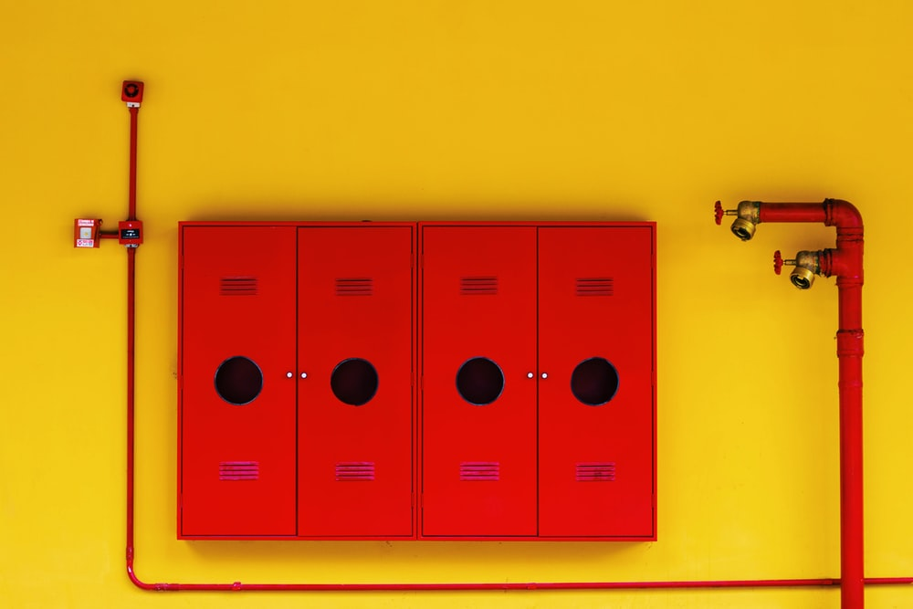 four red lockers