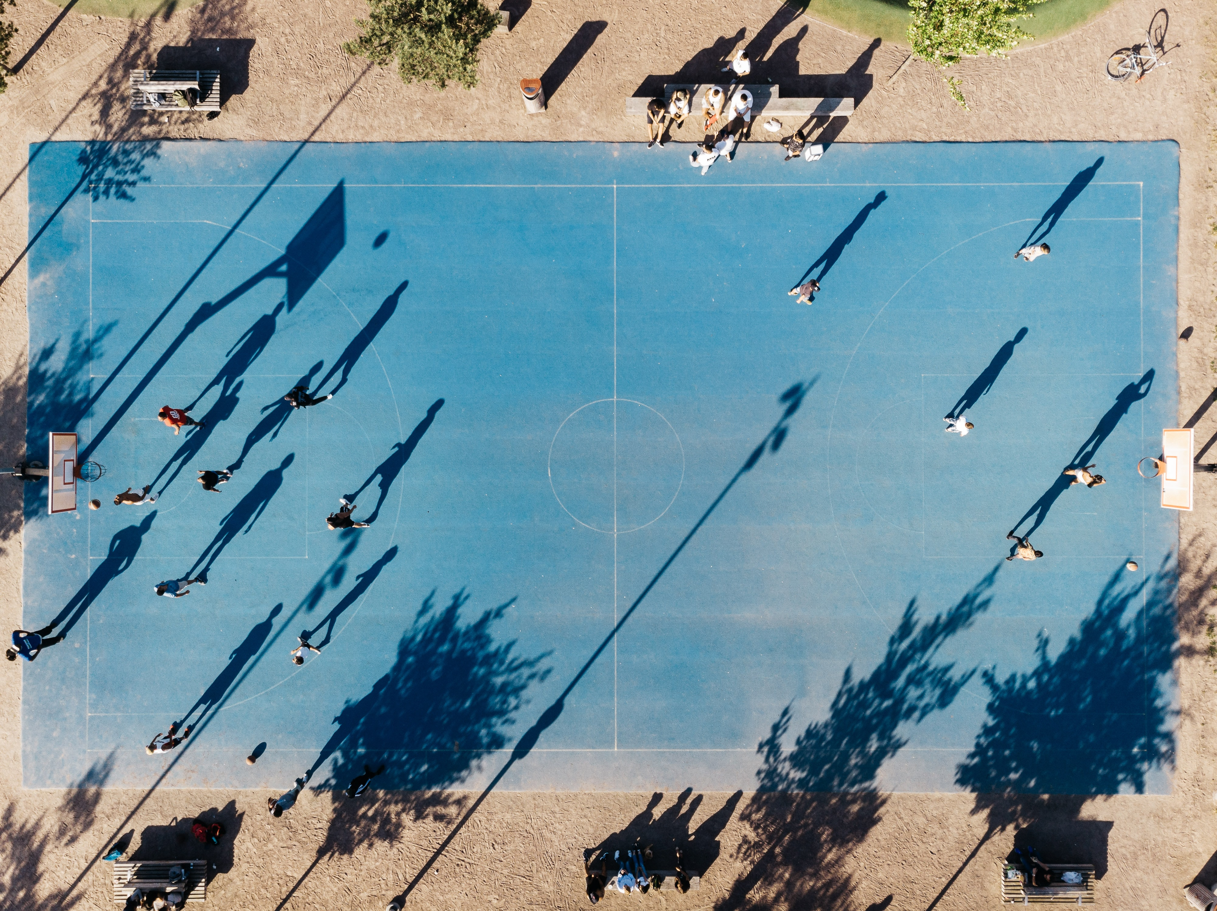 aerial view of basketball court with players inside