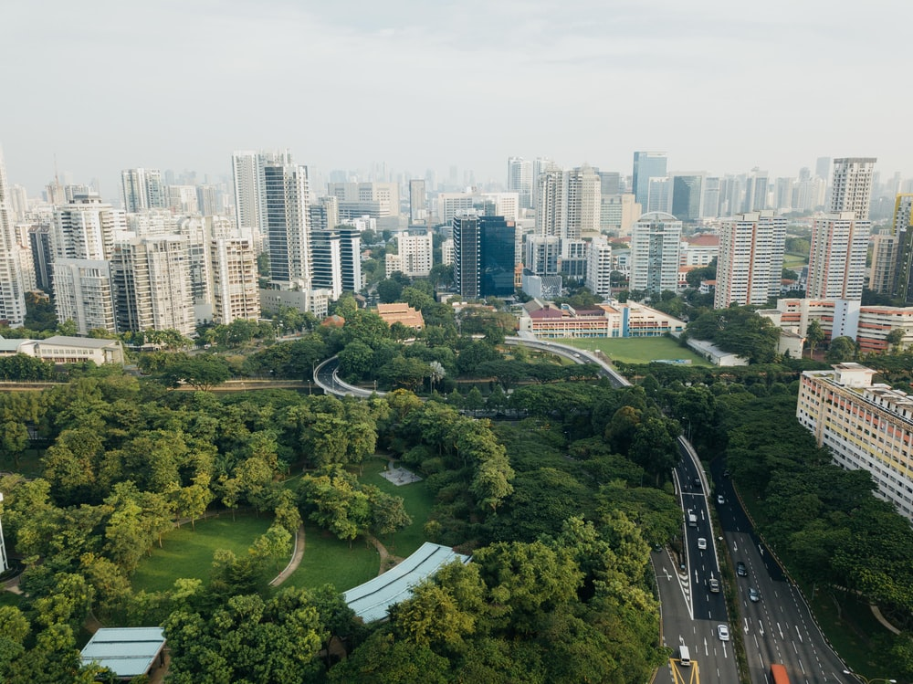 aerial photograph of city