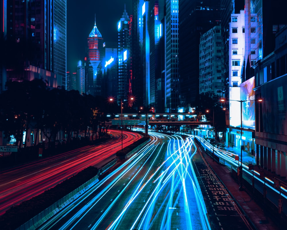 time-lapse photography of road
