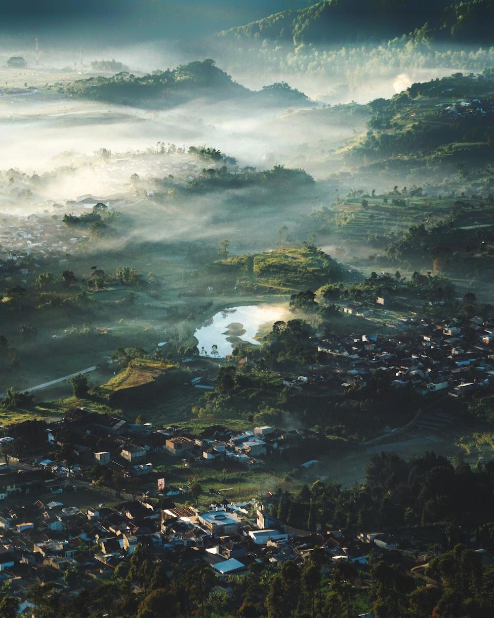 bird's eye view of village