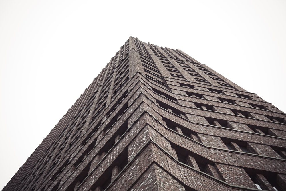 worm's-eye view of building