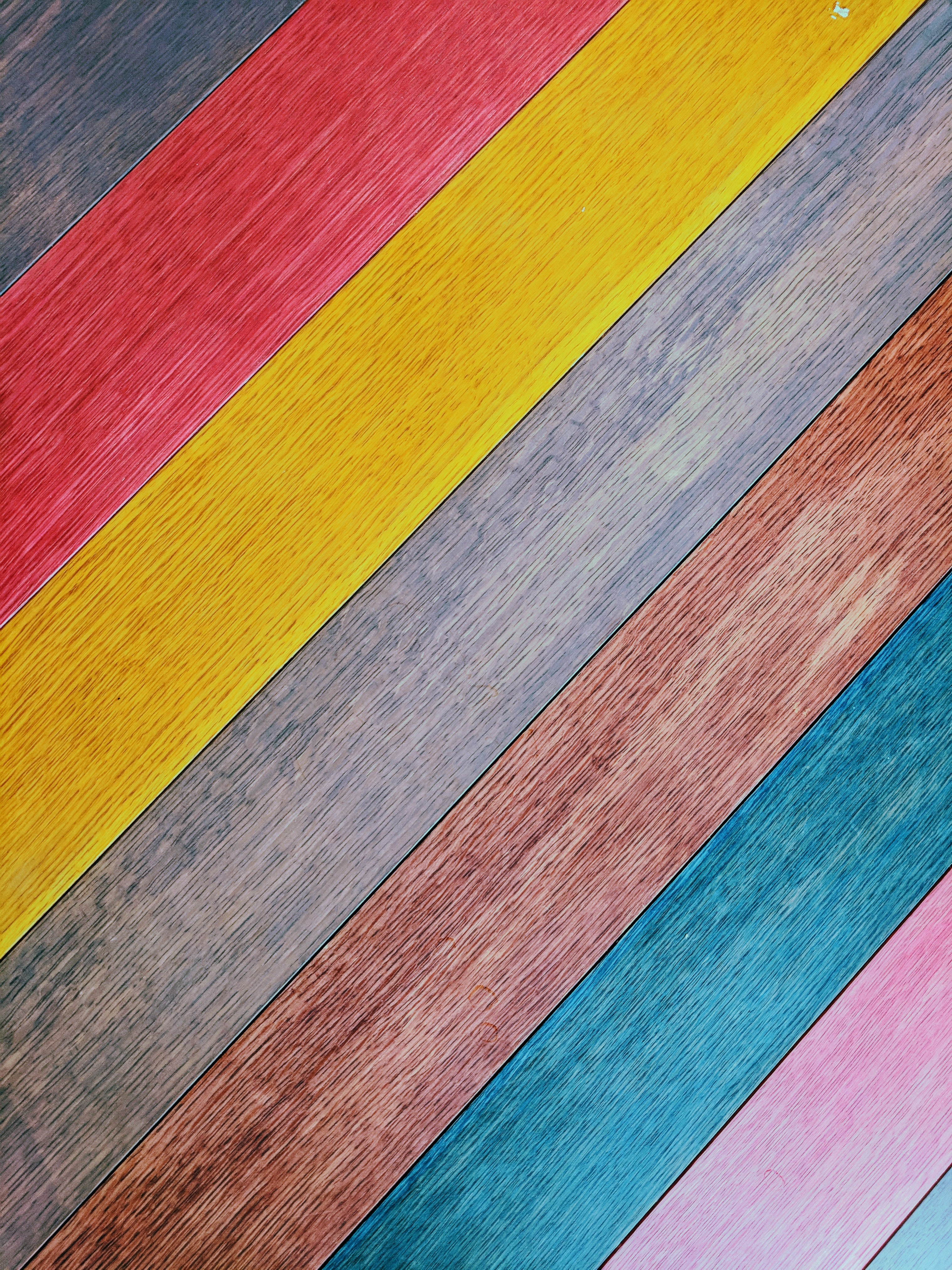 multicolored wooden surface